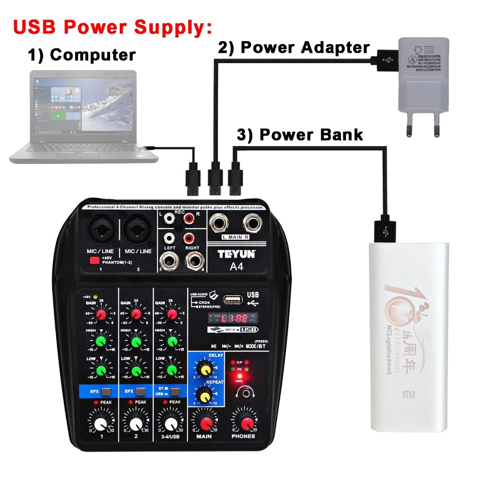 A4 Sound Mixing Console Bluetooth USB Record Computer Playback 48V Phantom Power Delay Repaeat Effect 4 Channels USB Audio Mixer enlarge