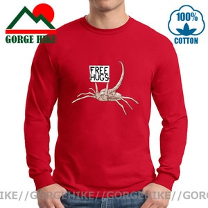 Graphic Cool Alien Scorpion Beg Free Hugs T Shirt Men Funny Robot Facehugger T-Shirt Movies Awesome Xenomorph Long Sleeve Tshirt