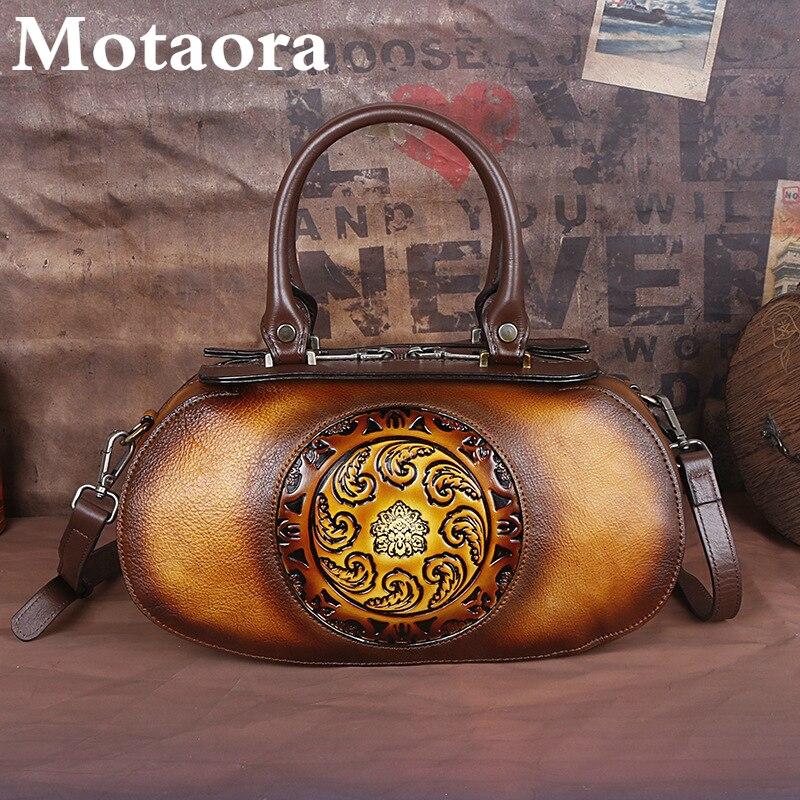 Motaora-حقيبة يد نسائية من الجلد الطبيعي ، حقيبة كتف فاخرة ، نمط صيني ، نمط ريترو ، جلد البقر الناعم