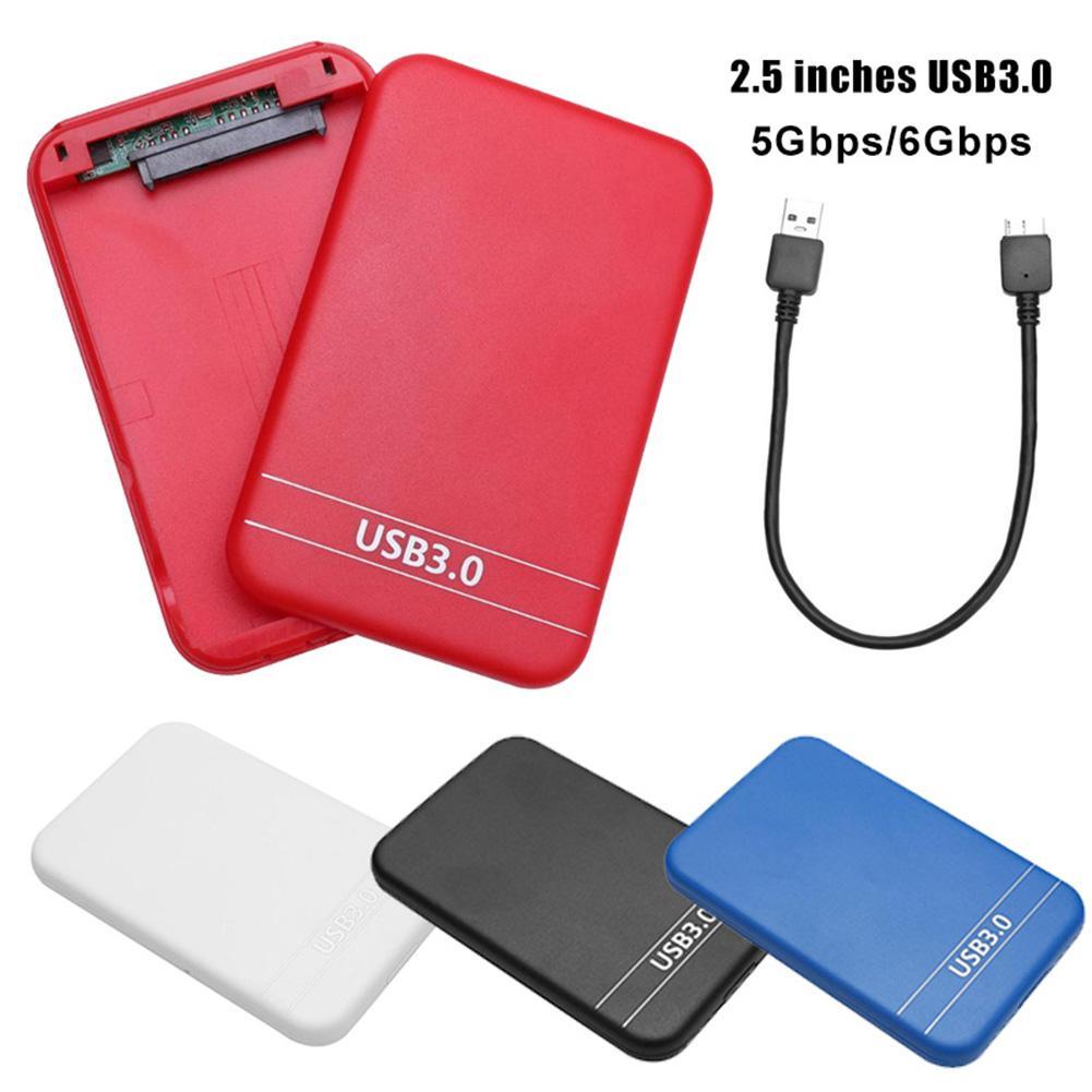 Funda de disco duro usb 2,5 a SATA, caja móvil de disco duro externo, caja para PC, negro, blanco, rojo y azul, estación de acoplamiento 3,0