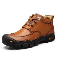 genuine leather shoes men boots handmade ankle boots autumn winter boots men walking shoes zapatos de hombre botas