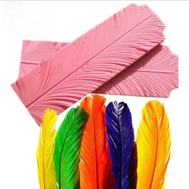 2pcs/set Leaf Peacock Feather Texture Silicone Molds Flower Petal Cake Lace Mat Mold Decorating Tools Fondant Decoration