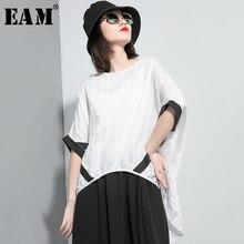 [EAM] kobiety biały Stitch plisowane na plecach długi T-shirt w dużym rozmiarze nowy okrągły dekolt pół rękawa mody fala wiosna lato 202 1U037