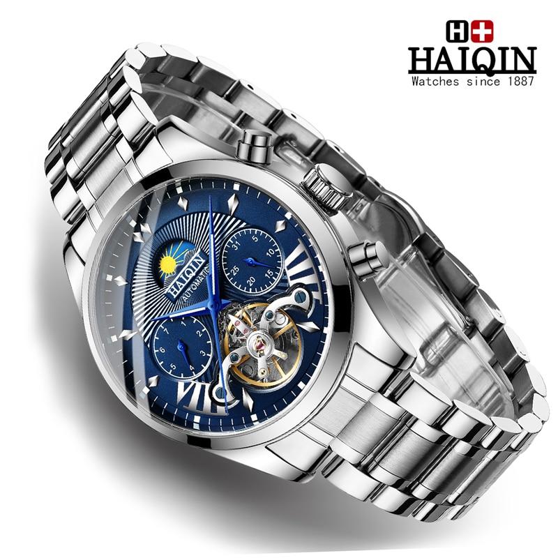 جديد HAIQIN ساعات رجالي أفضل ماركة فاخرة ساعة اليد الميكانيكية الرجال التلقائي مقاوم للماء ساعة الأعمال relojes hombre 2019