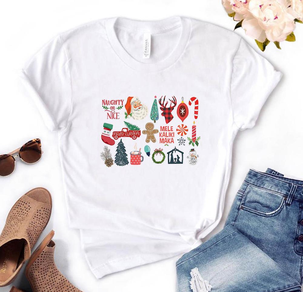 Poco las cosas de Navidad Holliday bastón de caramelo árbol mujeres Camiseta de algodón Casual divertido t camisa regalo para Lady Yong chica Tee superior PM-80