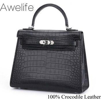 luxury crocodile leather handbags leather handbags high-gloss belly handbags fashion ladies messenger bags