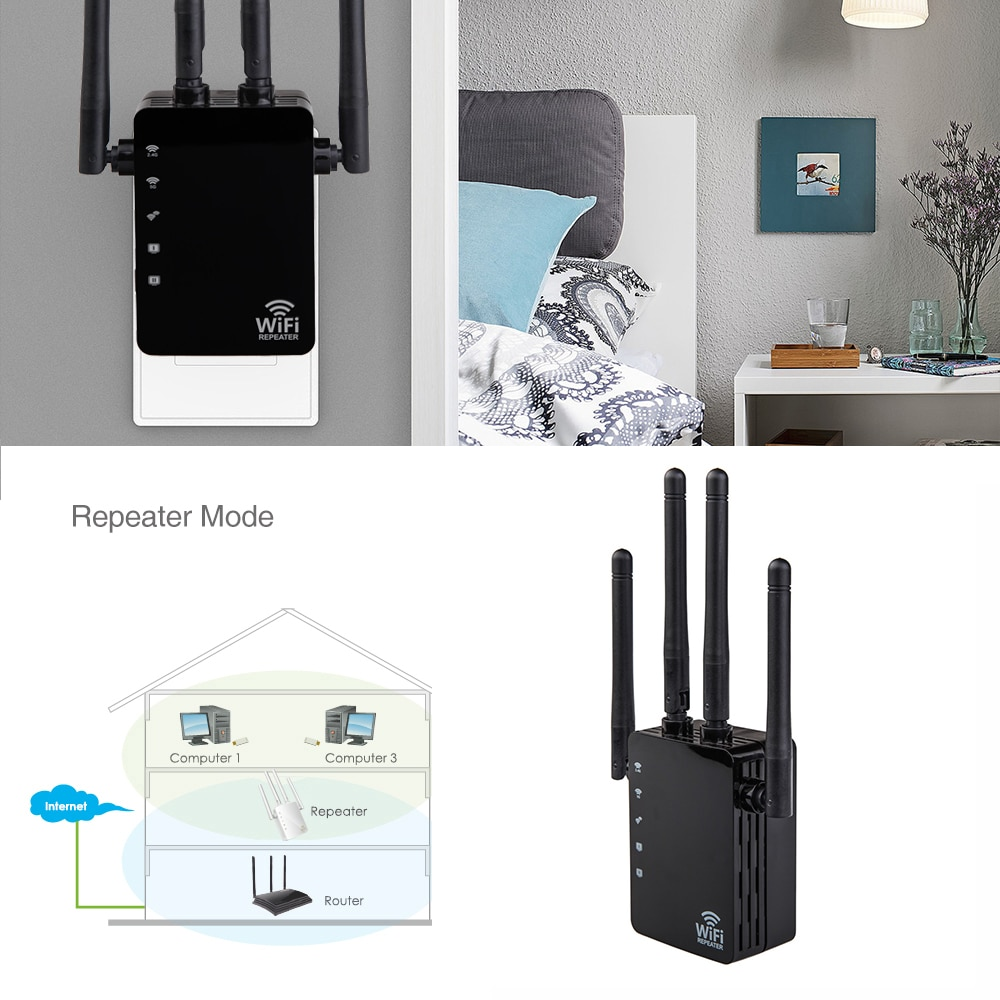 1200Mbps Wifi Repeater Dual Band AC 2.4G / 5G Bridge Connection Signal Amplifier For Router PC Laptop Mobile phone Net Work enlarge