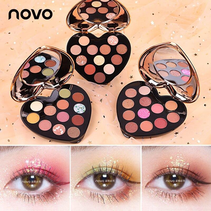 Sombra de ojos en forma de amor, 12 colores, compacto, perlado, resistente...