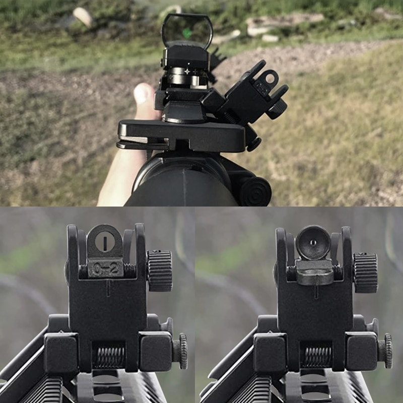 Фото - Tactical BUIS AR15  Front and Rear flip up 45 Offset Degree Rapid Transition Backup Iron Sight for Hunting RL27-0004 folding tactical flip up sight rear front sight mount transition backup iron sight rapid rifle rts for paintball accessories