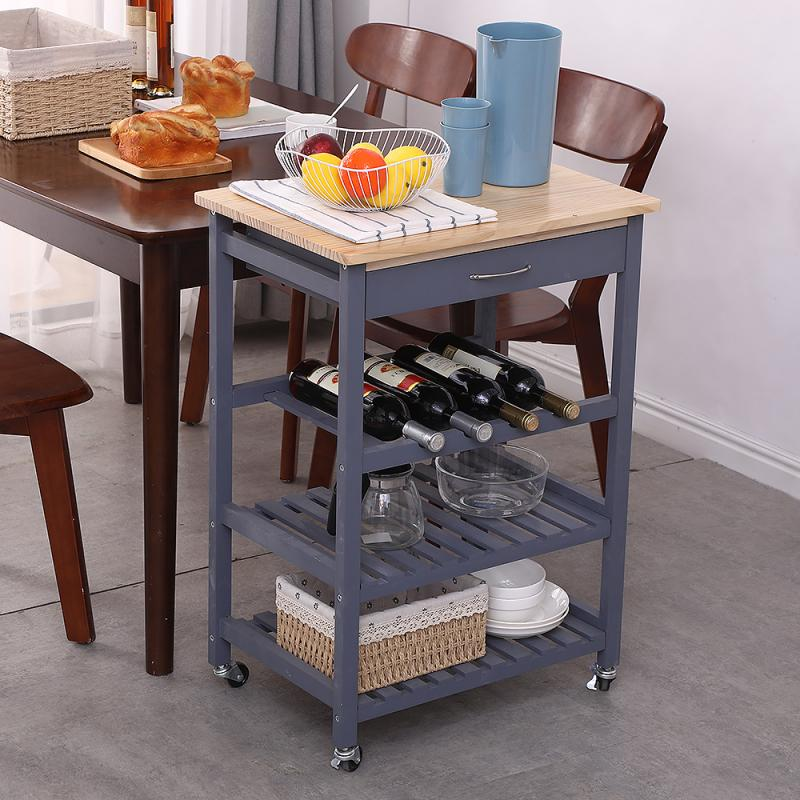 4-Layer Kitchen Trolley Storage Holders With Drawer And Wheels Solid Pine Rack Cart Organizer Shelf Fast Delivery In 3-7days HWC