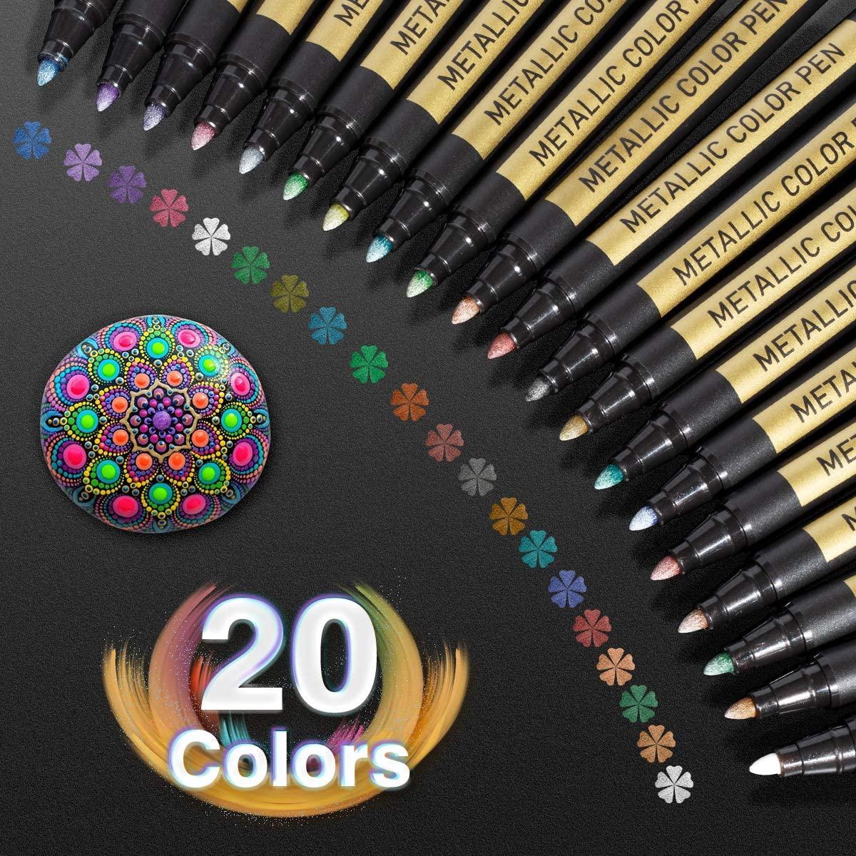 10/20 Color Metallic Paint Marker Pen Permanent Writing Rock Painting Photo Album Scrapbook Glass Wood Canvas Card Art marker