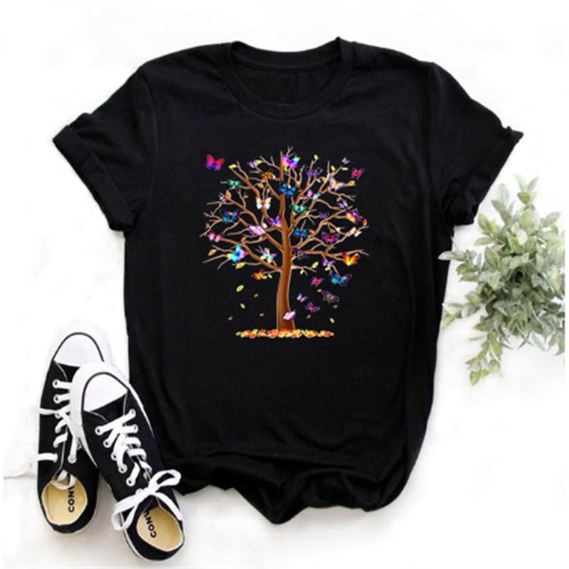 Camiseta con estampado de árbol con mariposas párr mujer de ropa Harajuku...