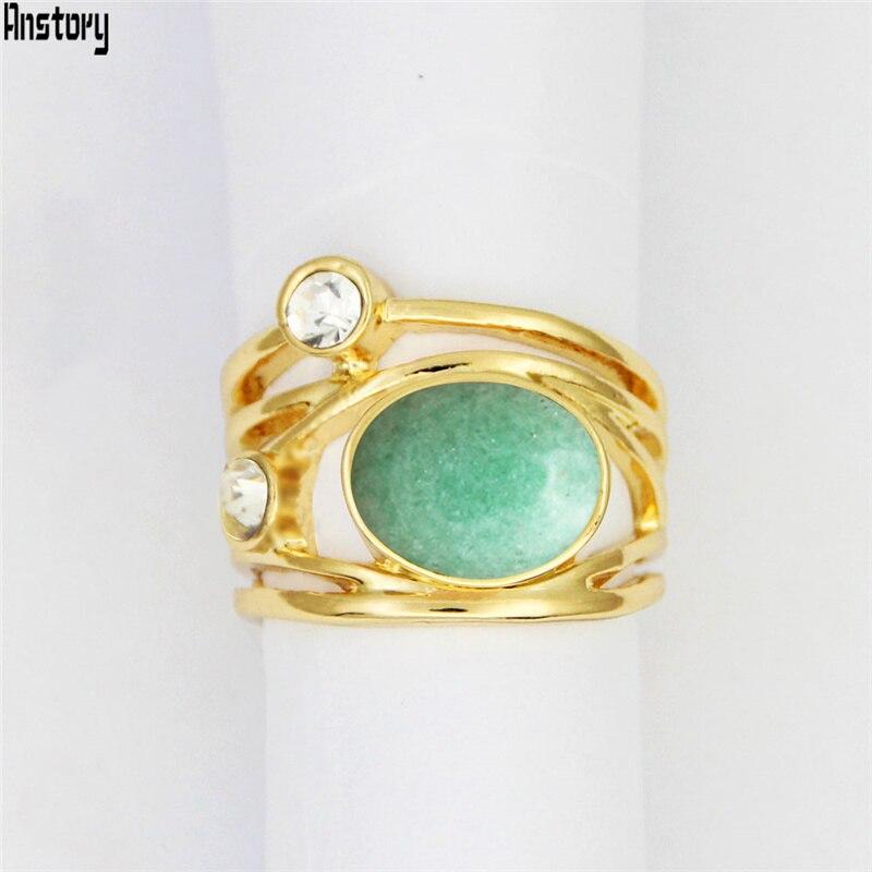 Natural Oval Quartz Lapis Jades Amethysts Plant Rings For Womem 18K Gold Tone Natural Stone Fashion Crystal Ring TR781