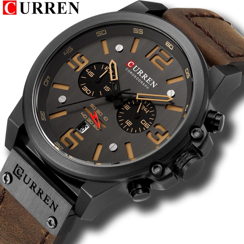 Gran oferta, relojes deportivos de cuarzo con cronógrafo CURREN, reloj de pulsera a la moda Cuero militar para hombre, reloj de regalo masculino 8314