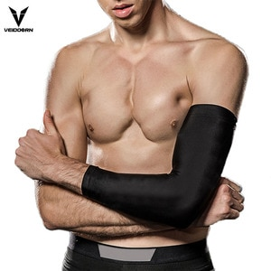 Veidoorn 2pcs Basketball Elbow Support Compression Elastic Arm Sleeve Brace with Protective Pad Absorb Sweat for Gym Sport