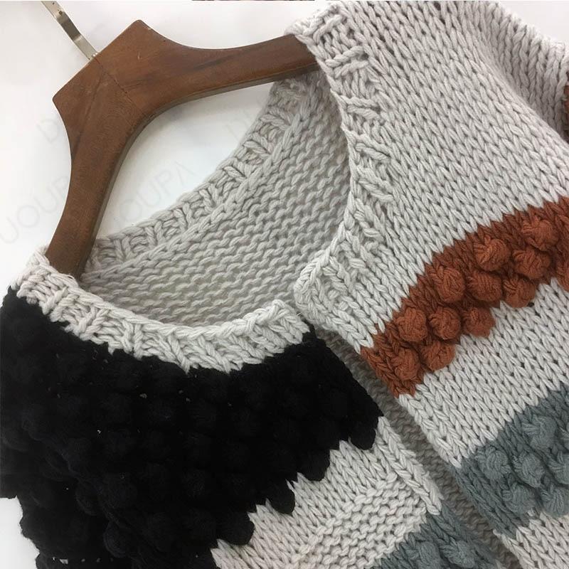 2020 autumn and winter new handmade sweater women temperament contrast color short ball knit cardigan jacket sweater women enlarge