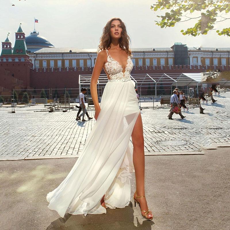 Lorie Beach Wedding Dress Long spaghetti Chiffon Lace Bridal Dresses High Side Split Boho Wedding Gowns Vestidos de novia