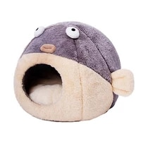 pet cat bed indoor kitten pufferfish style pet nest house warm small for cats dog short plush cat cave cute sleeping mats