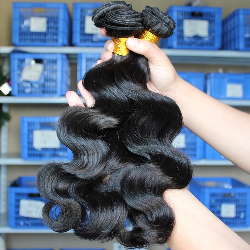 Fasci di capelli umani dell'onda del corpo con chiusura fasci di tessuto dei capelli di estensione dei capelli vergini peruviani 100% pizzo svizzero profondo dei capelli umani