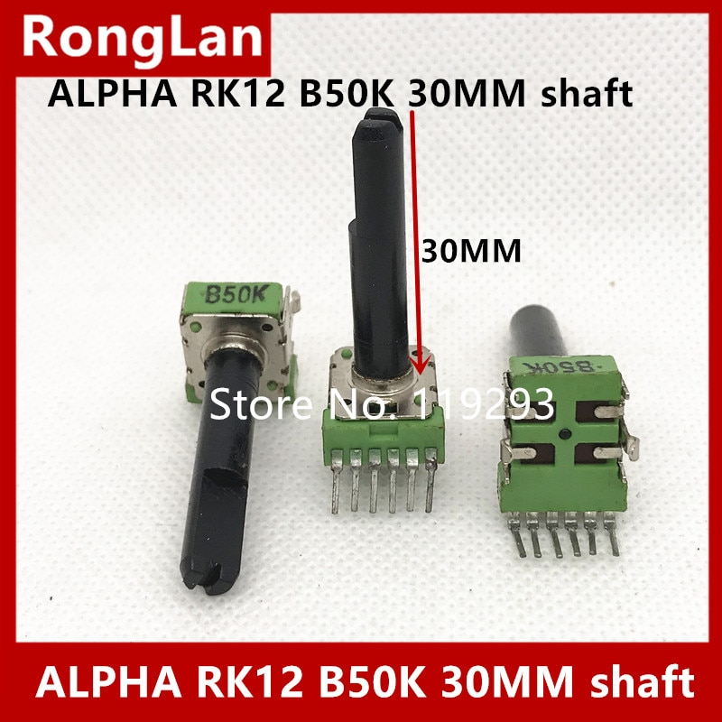 Taiwan alpha RK12 potentiometer speaker volume potentiometer double handle B50k with midpoint 30mm axis-10PCS