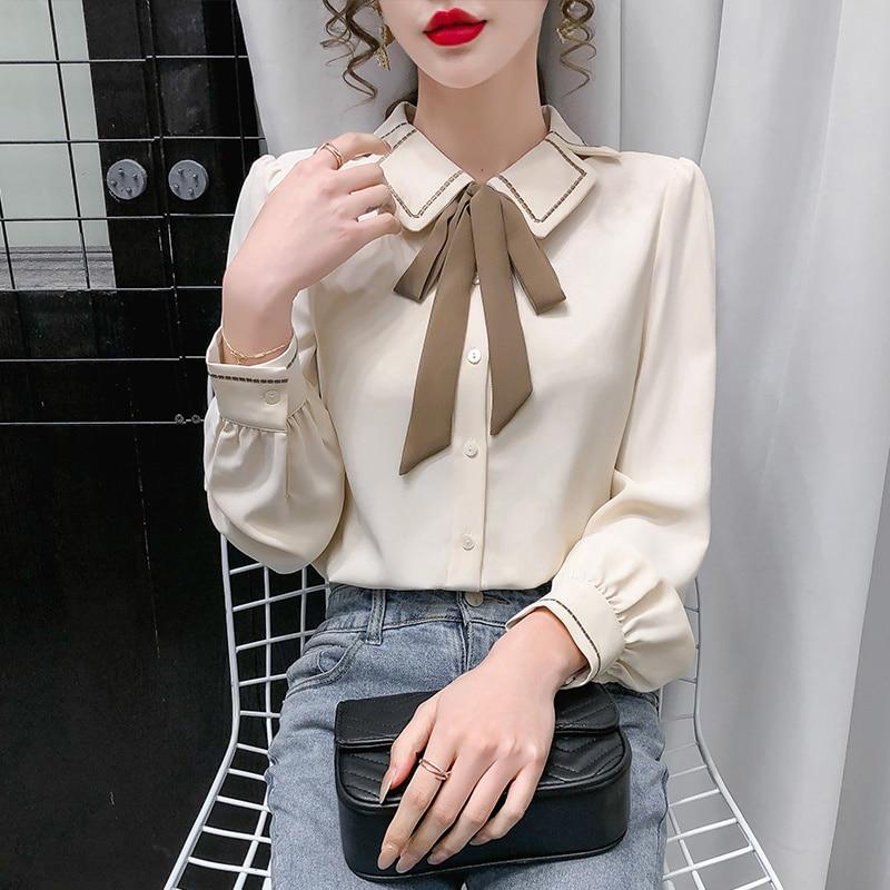 Early Autumn Clothing 2021new Women's Chiffon Shirt Women's Summer Thin Business White Shirt Long Sl