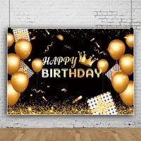 laeacco gold balloon crown happy birthday party background for photography portrait customize banner photobackdrop photostudio