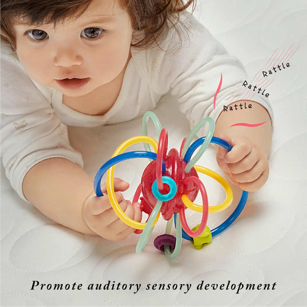 Rattle Baby Soft Teether Safe Develop Intelligence Candy Manhattan Hand Ball Infant Educational Sensory Teething Toy
