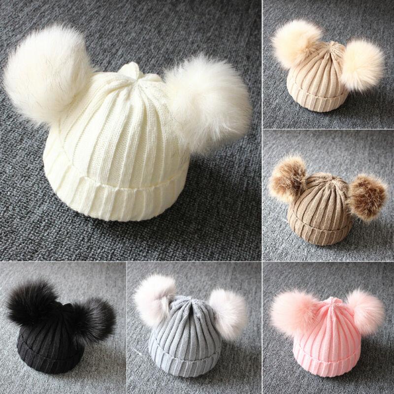 2019 otoño nuevo bebé recién nacido niños niñas invierno cálido sombrero de punto bolas peludas pompón sólido cálido adorable gorro tapa regalos
