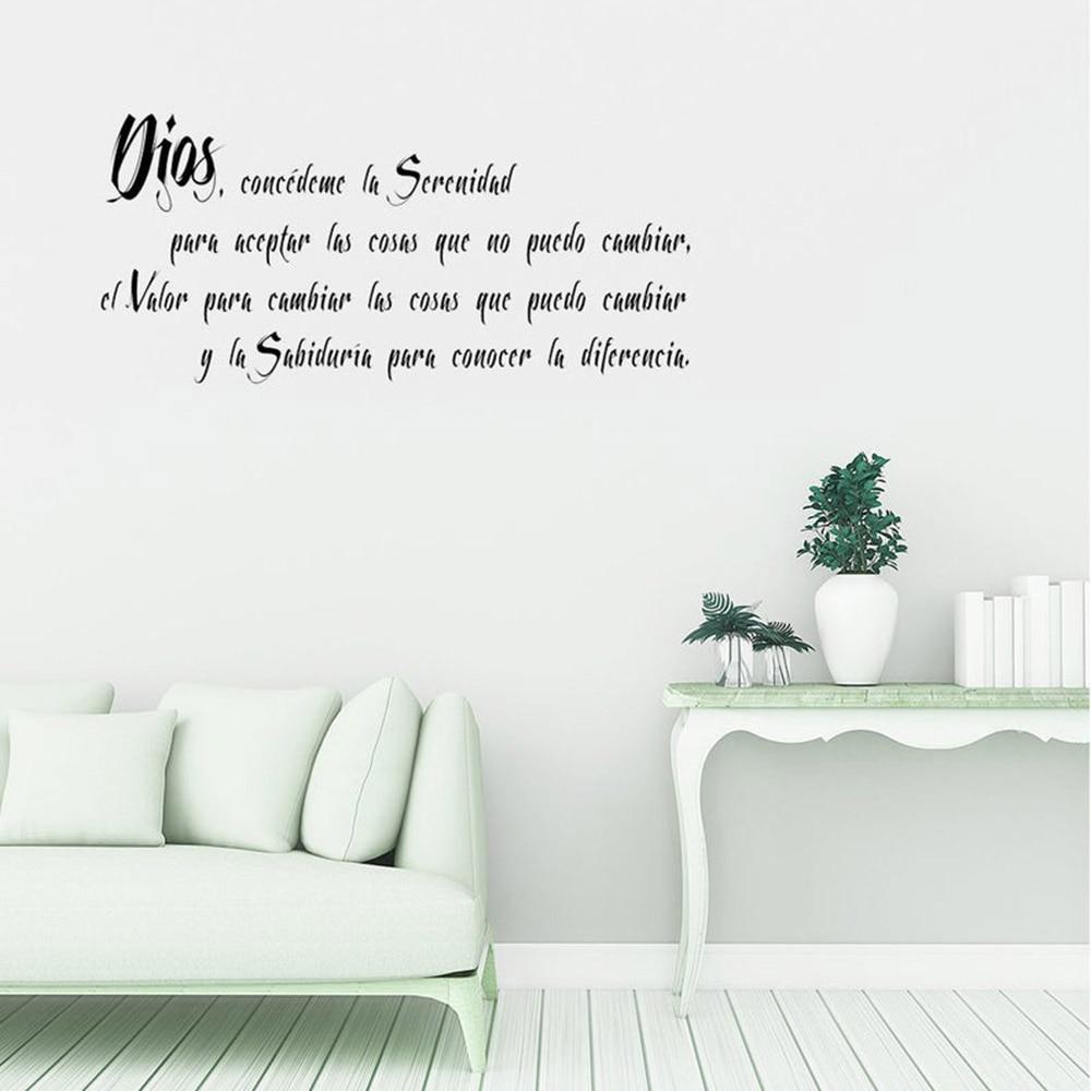 Calcomanía de la pared de la oración de la Serenidad española etiqueta de la pared del vinilo de la sala de estar etiqueta de la pared del dormitorio que dice decoración del hogar Mural C123