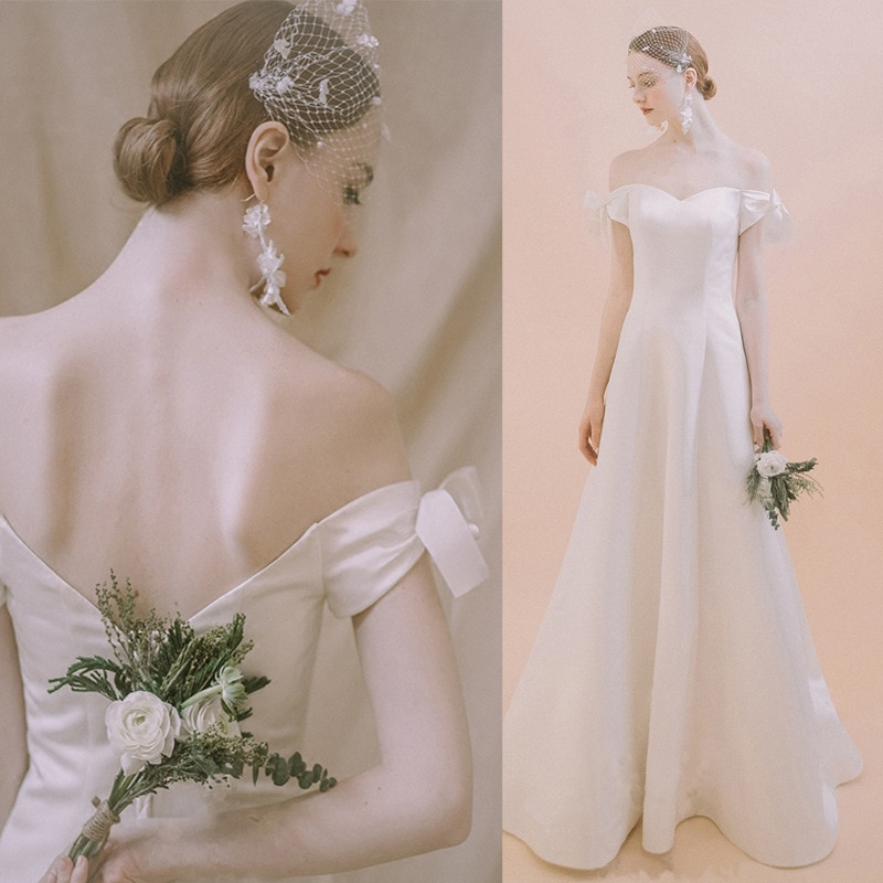 21 luxury quality women's straight neck dress high-end white satin evening dress sexy backless temperament elegant wedding dress