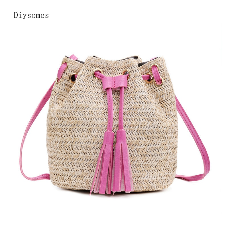 Diysomes Straw Bucket Female Bag 2020 Summer New Korean Women'S Tassel Portable Crossbody Shoulder