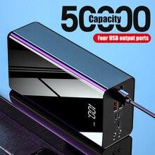 50000mAh batterie externe TypeC Micro 4 USB QC charge rapide Powerbank pêche éclairage LED affichage Portable chargeur de batterie externe