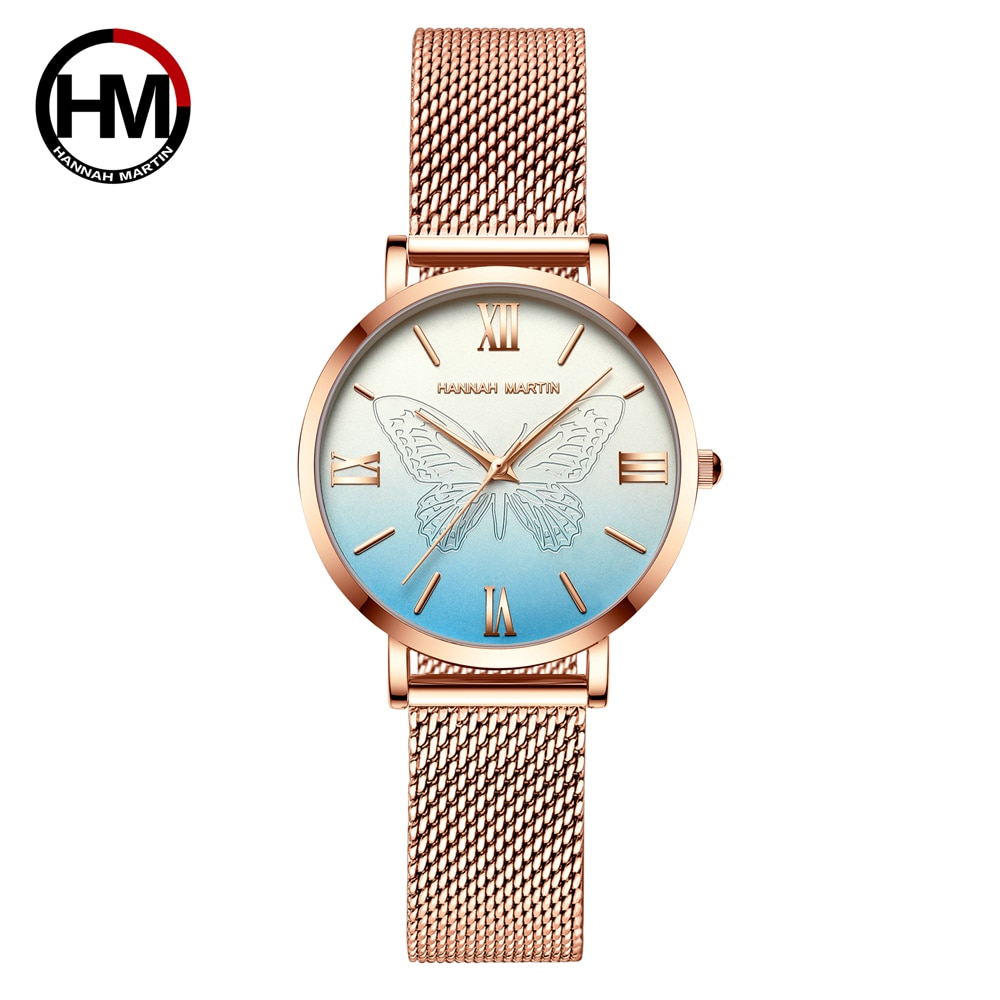 Women Watches Japan Quartz Movement 3D Butterfly Top Brand Luxury Stainless Steel Waterproof Wristwatches relogio feminino enlarge