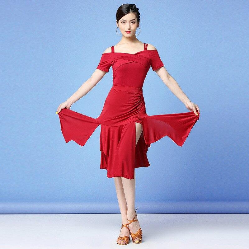 Latin Dance Dress Women 2020 New Spaghetti Strap Top Irregular Skirt Two Pieces Set Performance Prac