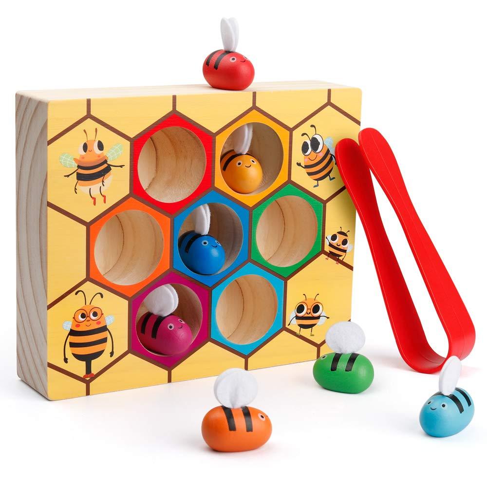Зажим пчела в улей, подходящая игра, Хороший мотор, игрушка мастерство Монтессори, деревянный цвет, сортировка головоломка, обучающий подарок для От 2 до 4 лет