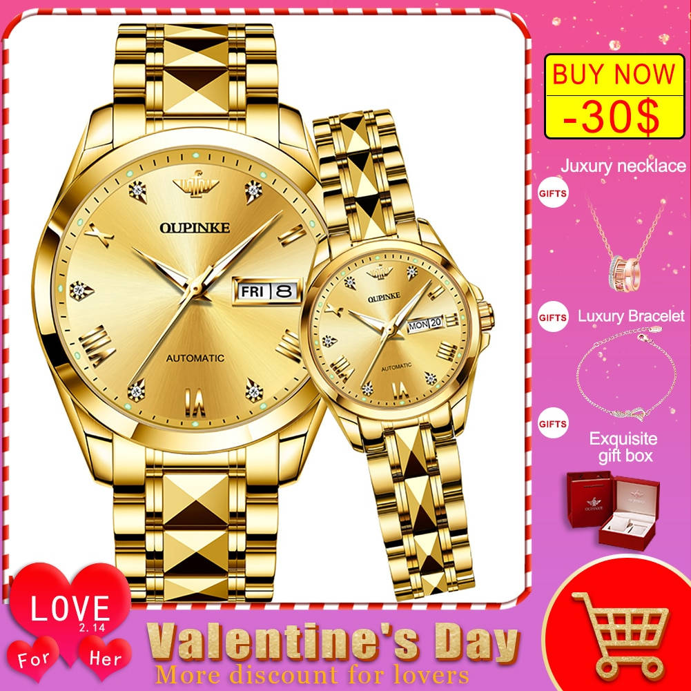 OUPINKE  Couple Watch for Men Women His & Hers Watch Pair Luxury Matching Bracelet Wristwatch Automatic Valentine's Gifts sets