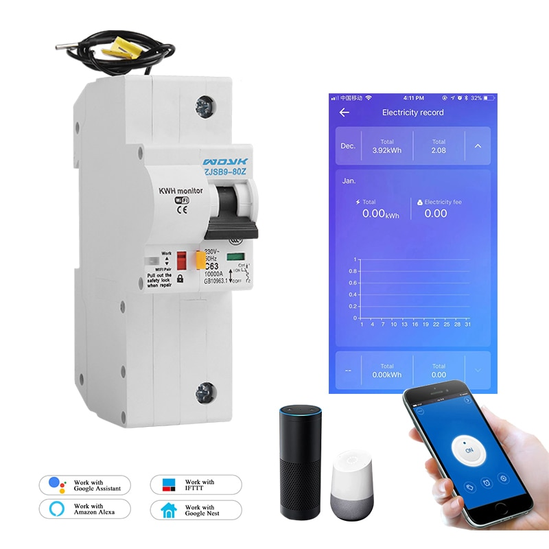 1P WiFi Smart Energy monitoring Circuit Breaker overload and short circuit protection with Alexa and Google home for smart home dz47 63h miniature circuit breakers for household and distribution box and mechanical equipment motor overloa protection