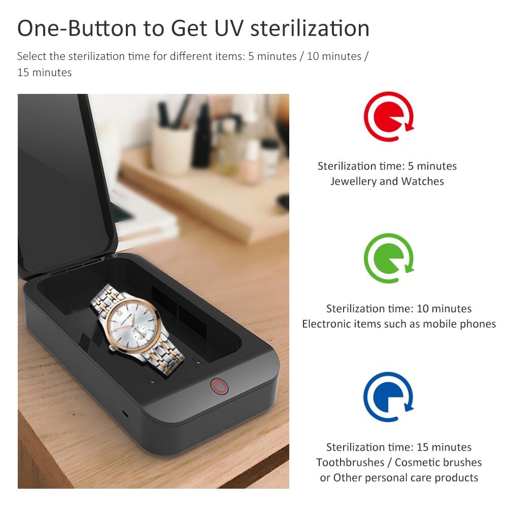 X2 uv telefone esterilizador caixa jóias telefone escova de dentes relógio mais limpo desinfetante pessoal máscara facial uv esterilização caso