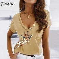 womens fashion hot sale fawn print v neck short sleeve casual t shirt womens lovely fawn elegant t shirt womens top s 3xl