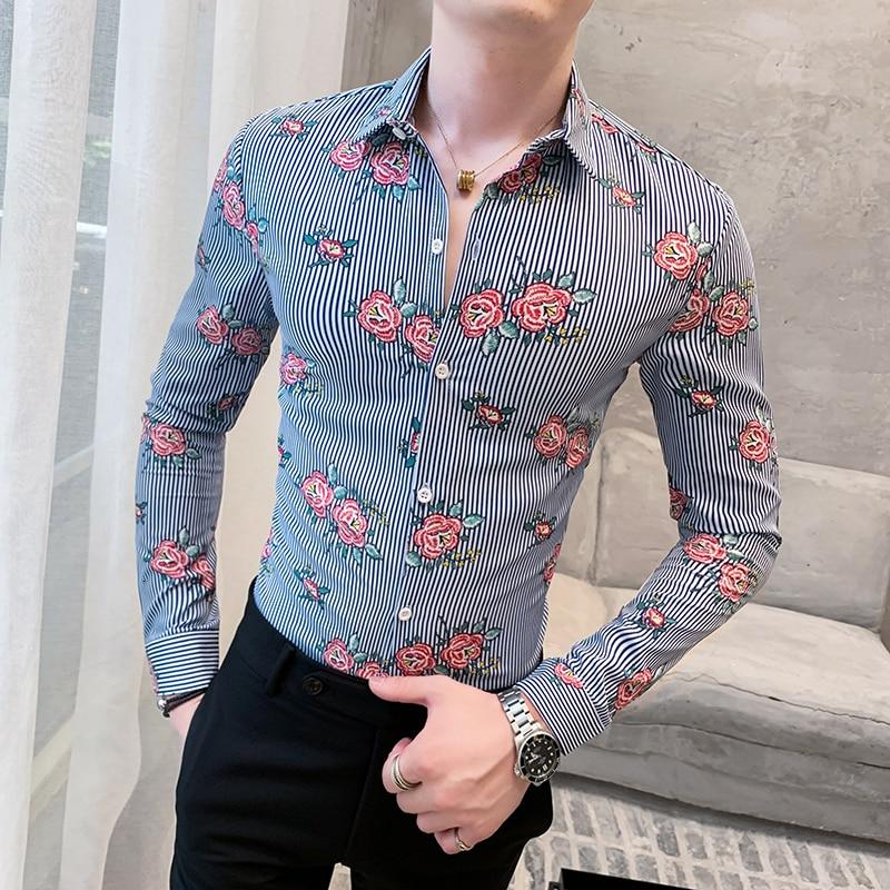 Camisa francesa Chemise nools Homme, Camisas estampadas ajustadas Para Homem, Camisas de vestir informales Para hombre, camisa a la moda, atuendo elegante Para Club