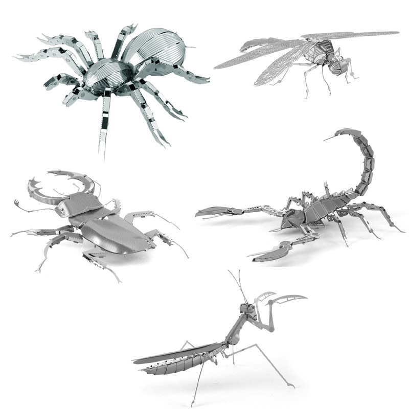3D Metal Puzzle insect Dragonfly Praying Mantis Scorpion Tarantula model KITS Assemble Jigsaw Gift Toys For Children