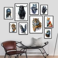 jungle animals leopard tiger fox cow wolf owl wall art canvas painting nordic posters and prints wall pictures kids room decor