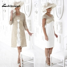 vesrido madrinha Champagne Mother Of The Bride Dress with Jacket Wedding Party Gowns Latest Formal E