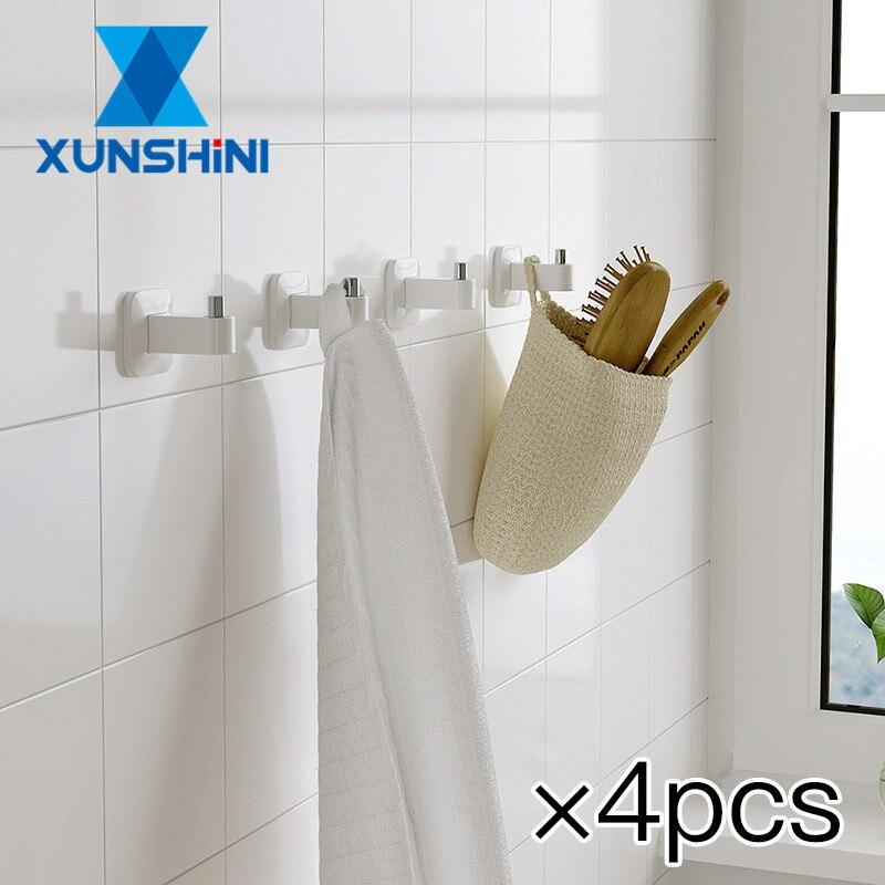 Toallero Simple XUNSHINI de 4 Uds., toallero de baño, toallero sin perforador, gancho para ropa, colgador de pared, ropa de baño, gancho individual