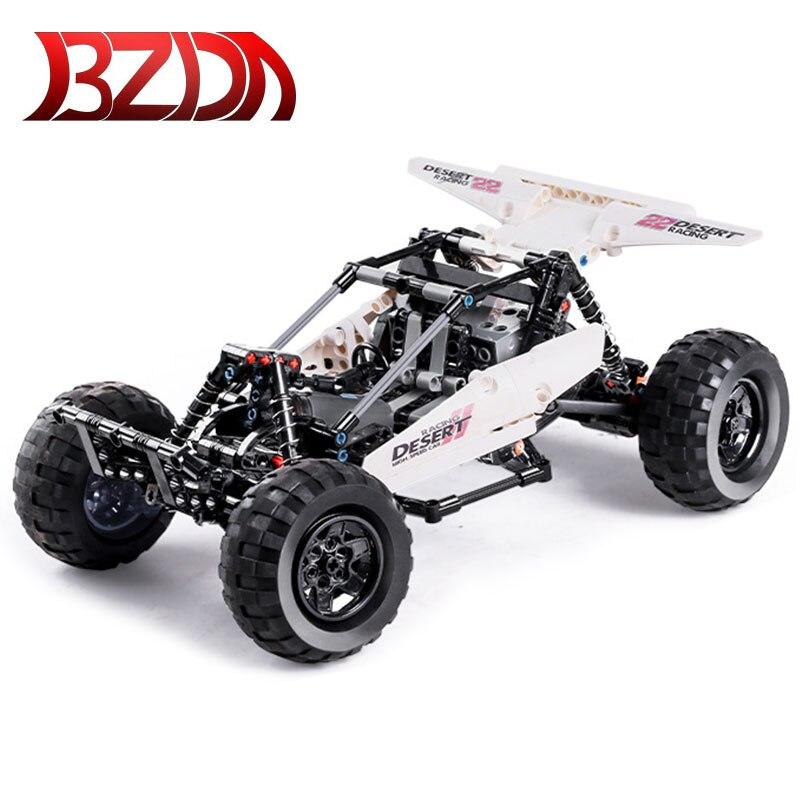 BZDA Speed Champion MOC Desert pilot pojazd terenowy Ferrari F8 Tributo Model klocków budowlanych zabawki dla dzieci Building Block