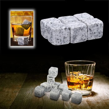 6pcs 9pcs Natural Whiskey Stones Sipping Ice Cube Whisky Stone Drinks Cooler Cubes Wedding Gift Favor Christmas Bar