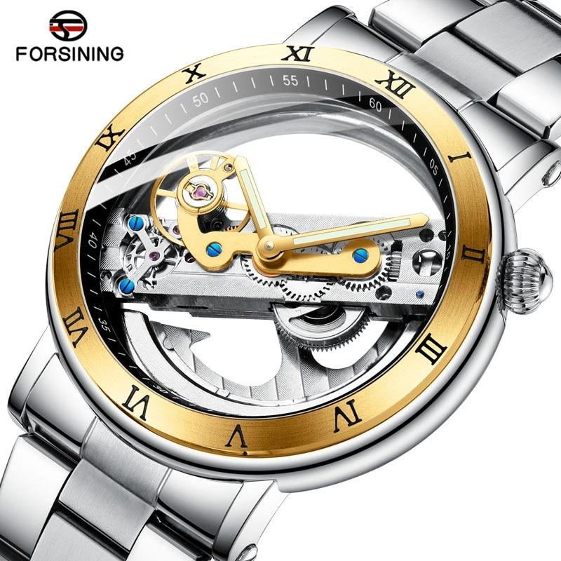 Marca de lujo superior Forsining doble cara transparente Tourbillion hombres reloj masculino plata acero mecánico Steampunk reloj automático