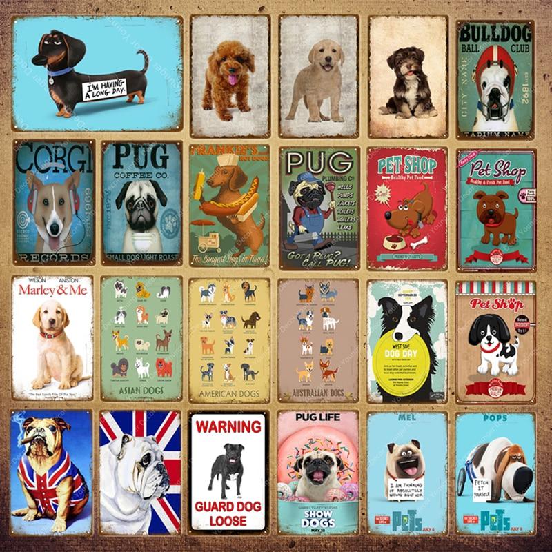 Animal Dogs Pug Pops Metal Signs Vintage Wall Painting Poster For Bar Pub Ball Club Pet Shop Decor Retro Wall Sticker YI-106