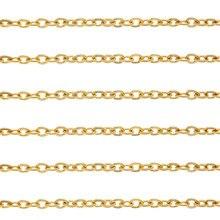 Julie Wang 1 mètre 2*1.5mm en acier inoxydable or O chaîne collier Bracelet cheville fabrication de bijoux accessoire