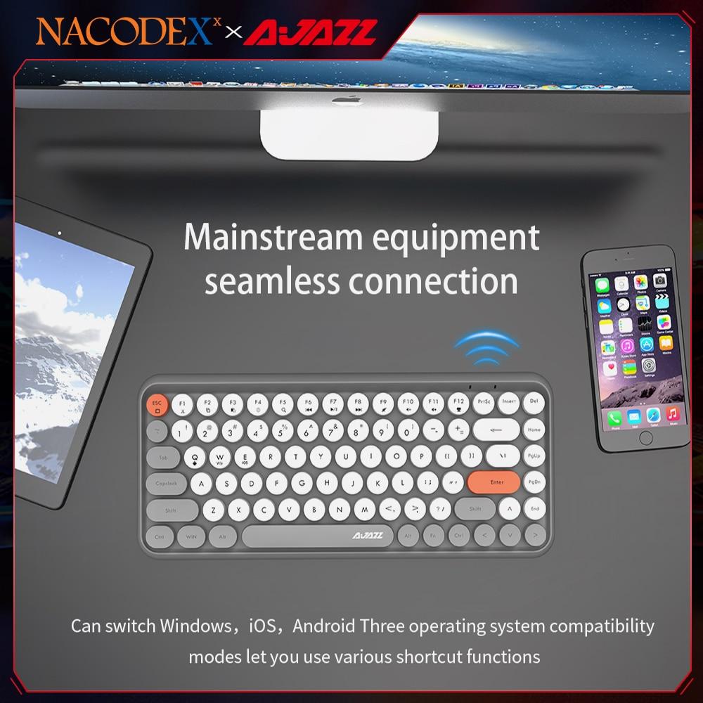 AJAZZ NACODEX 308I 84 مفاتيح بلوتوث لوحة المفاتيح اللاسلكية الرجعية آلة كاتبة مفتاح مستدير ل Win/iOS/أندرويد